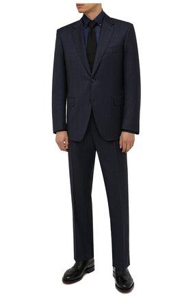 Мужская хлопковая сорочка ZILLI темно-синего цвета, арт. MFW-7026-0175/ZS248 | Фото 2 (Материал внешний: Хлопок; Рукава: Длинные; Принт: Однотонные; Воротник: Button down; Случай: Формальный; Стили: Классический; Рубашки М: Regular Fit; Манжеты: На пуговицах; Длина (для топов): Стандартные)