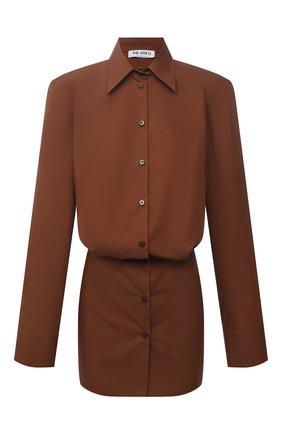 Женское хлопковое платье THE ATTICO коричневого цвета, арт. 213WCA54/C017 | Фото 1 (Рукава: Длинные; Материал внешний: Хлопок; Длина Ж (юбки, платья, шорты): Мини; Стили: Гламурный; Случай: Повседневный; Женское Кросс-КТ: Платье-одежда)