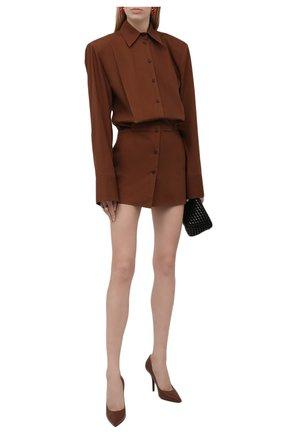 Женское хлопковое платье THE ATTICO коричневого цвета, арт. 213WCA54/C017 | Фото 2