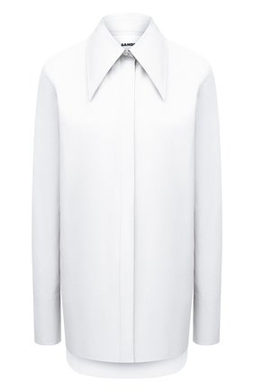 Женская хлопковая рубашка JIL SANDER белого цвета, арт. JSPT600205-WT244200 | Фото 1 (Материал внешний: Хлопок; Рукава: Длинные; Длина (для топов): Удлиненные; Стили: Минимализм; Принт: Без принта; Женское Кросс-КТ: Рубашка-одежда)