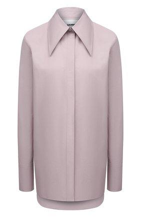 Женская хлопковая рубашка JIL SANDER сиреневого цвета, арт. JSPT600205-WT244200 | Фото 1 (Материал внешний: Хлопок; Стили: Минимализм; Принт: Без принта; Женское Кросс-КТ: Рубашка-одежда; Рукава: Длинные; Длина (для топов): Удлиненные)
