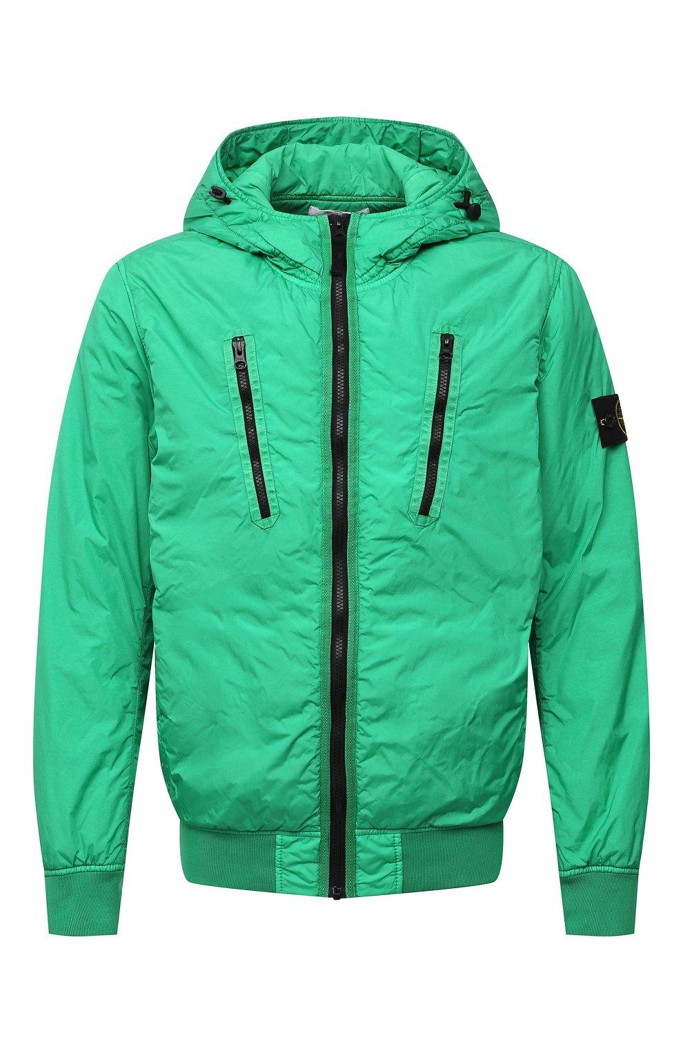 Мужской утепленный бомбер STONE ISLAND зеленого цвета, арт. 751542223   Фото 1 (Кросс-КТ: Куртка; Рукава: Длинные; Принт: Без принта; Материал внешний: Синтетический материал; Стили: Гранж; Мужское Кросс-КТ: утепленные куртки; Материал подклада: Синтетический материал; Длина (верхняя одежда): Короткие)