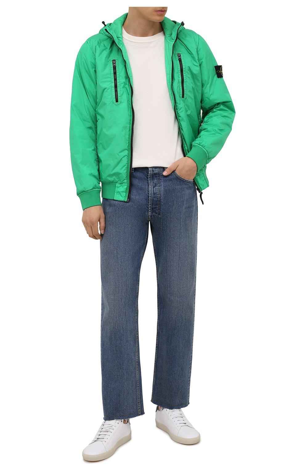 Мужской утепленный бомбер STONE ISLAND зеленого цвета, арт. 751542223   Фото 2 (Кросс-КТ: Куртка; Рукава: Длинные; Принт: Без принта; Материал внешний: Синтетический материал; Стили: Гранж; Мужское Кросс-КТ: утепленные куртки; Материал подклада: Синтетический материал; Длина (верхняя одежда): Короткие)