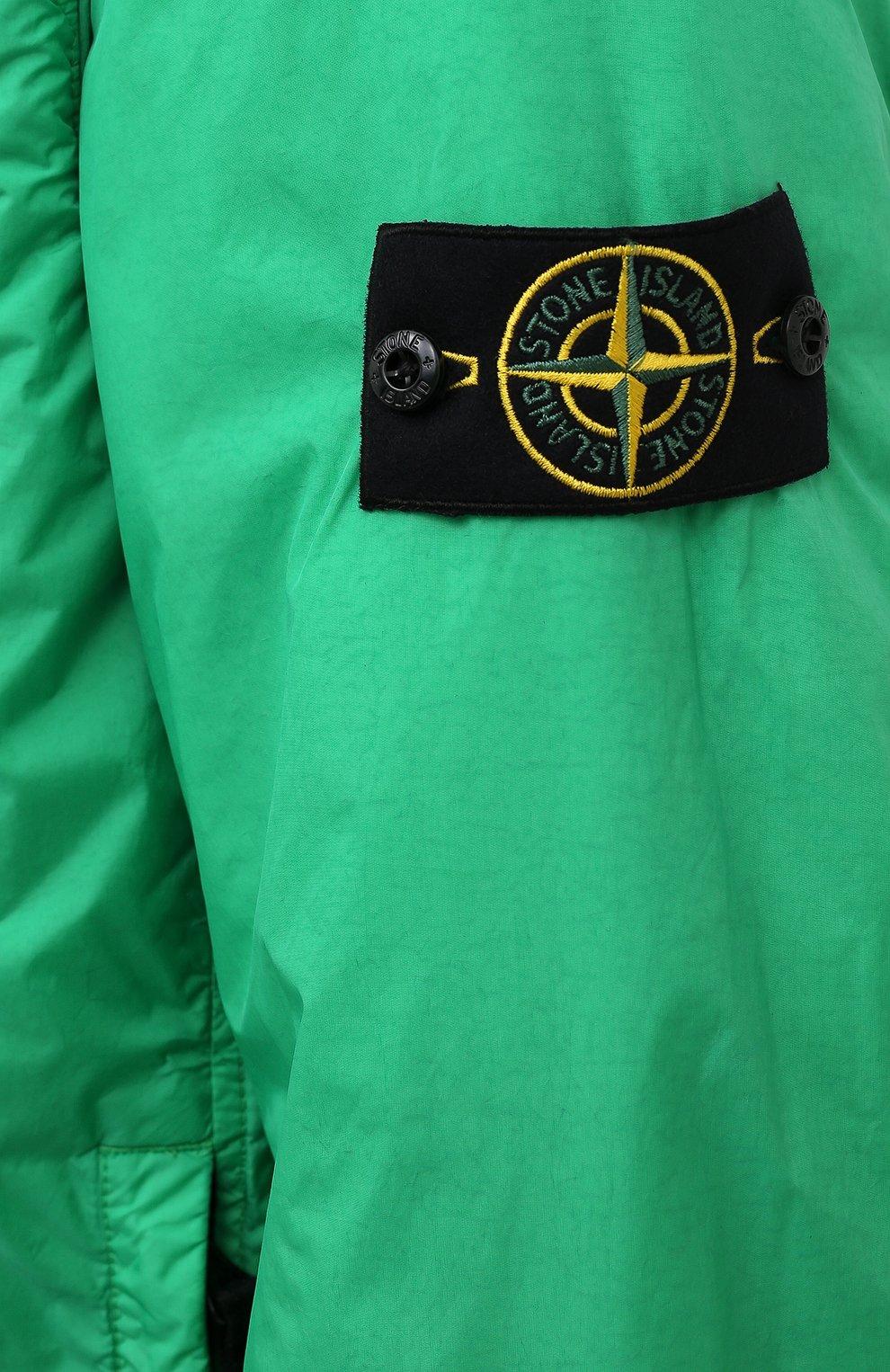 Мужской утепленный бомбер STONE ISLAND зеленого цвета, арт. 751542223   Фото 5 (Кросс-КТ: Куртка; Рукава: Длинные; Принт: Без принта; Материал внешний: Синтетический материал; Стили: Гранж; Мужское Кросс-КТ: утепленные куртки; Материал подклада: Синтетический материал; Длина (верхняя одежда): Короткие)