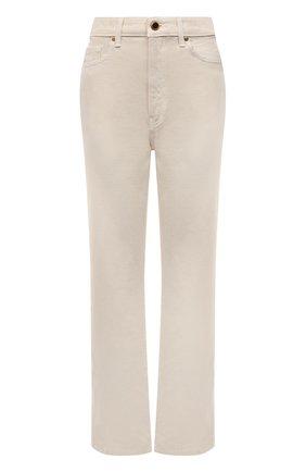 Женские джинсы KHAITE кремвого цвета, арт. 1071-051/ABIGAIL | Фото 1 (Длина (брюки, джинсы): Стандартные; Материал внешний: Хлопок; Стили: Кэжуэл; Кросс-КТ: Деним; Силуэт Ж (брюки и джинсы): Прямые)