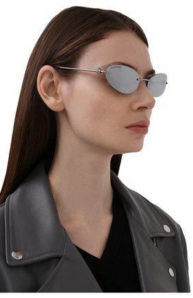 Женские солнцезащитные очки BALENCIAGA серебряного цвета, арт. 664092/T0005 | Фото 2