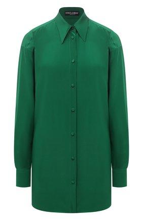 Женская шелковая блузка DOLCE & GABBANA зеленого цвета, арт. F5054T/FU1HS | Фото 1 (Материал внешний: Шелк; Рукава: Длинные; Длина (для топов): Удлиненные; Стили: Романтичный; Принт: Без принта; Женское Кросс-КТ: Блуза-одежда)