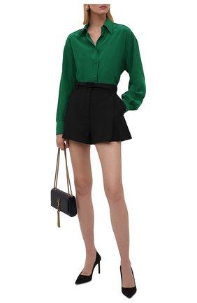 Женская шелковая блузка DOLCE & GABBANA зеленого цвета, арт. F5054T/FU1HS | Фото 2 (Материал внешний: Шелк; Рукава: Длинные; Длина (для топов): Удлиненные; Стили: Романтичный; Принт: Без принта; Женское Кросс-КТ: Блуза-одежда)