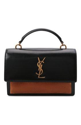 Женская сумка sunset medium SAINT LAURENT черного цвета, арт. 634723/1EK6W | Фото 1 (Ремень/цепочка: На ремешке; Материал: Натуральная кожа; Сумки-технические: Сумки top-handle; Размер: medium)
