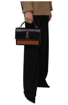 Женская сумка sunset medium SAINT LAURENT черного цвета, арт. 634723/1EK6W | Фото 2 (Ремень/цепочка: На ремешке; Материал: Натуральная кожа; Сумки-технические: Сумки top-handle; Размер: medium)