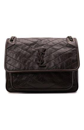 Женская сумка niki medium SAINT LAURENT темно-коричневого цвета, арт. 633158/1YG04 | Фото 1 (Материал: Натуральная кожа; Сумки-технические: Сумки через плечо; Размер: medium; Ремень/цепочка: С цепочкой, На ремешке)