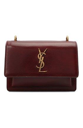 Женская сумка sunset medium SAINT LAURENT коричневого цвета, арт. 441972/1EK0W | Фото 1 (Материал: Натуральная кожа; Ремень/цепочка: На ремешке, С цепочкой; Размер: medium; Сумки-технические: Сумки через плечо)