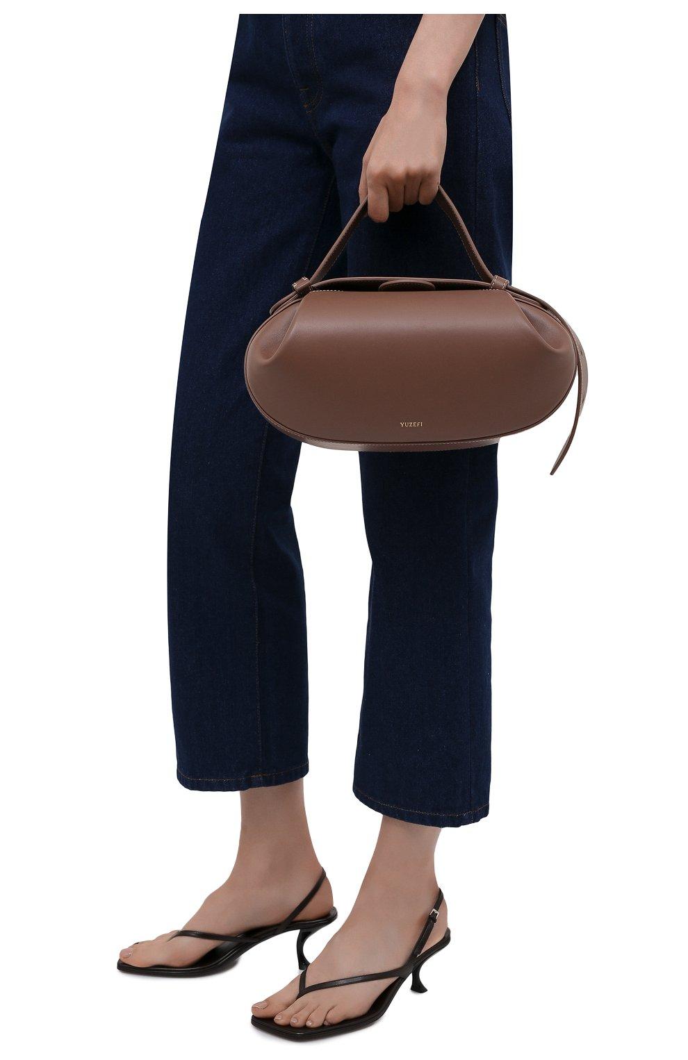 Женская сумка loaf YUZEFI бежевого цвета, арт. YUZPF21-HB-L0-14 | Фото 2 (Сумки-технические: Сумки top-handle; Размер: medium; Материал: Натуральная кожа; Ремень/цепочка: На ремешке)