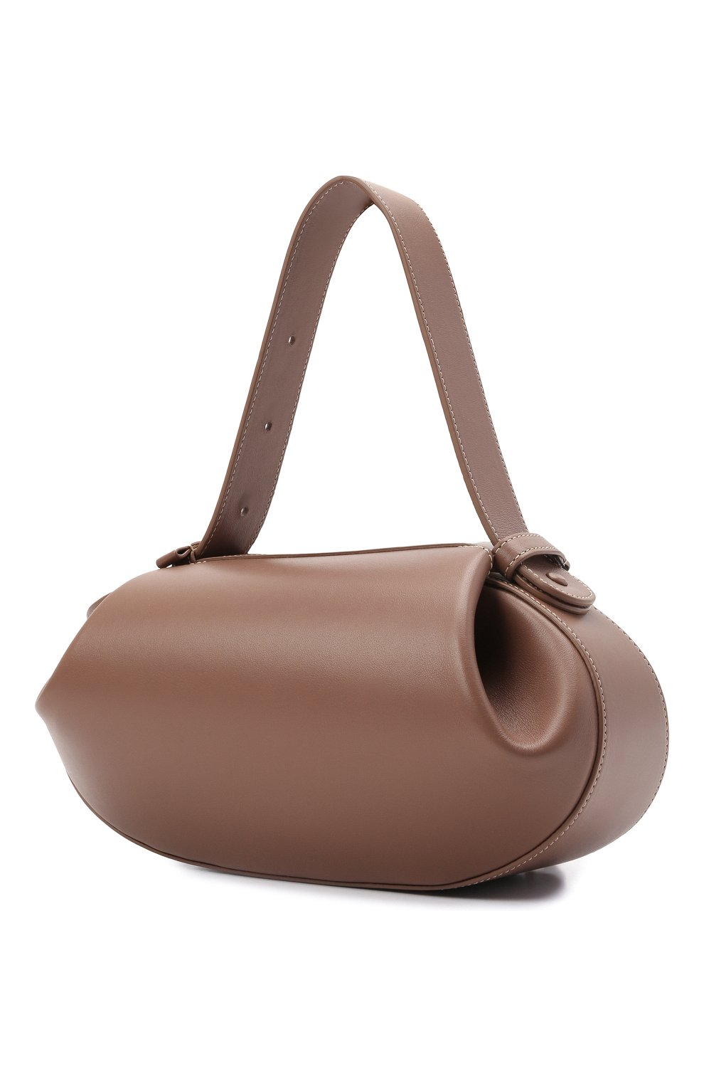 Женская сумка loaf YUZEFI бежевого цвета, арт. YUZPF21-HB-L0-14 | Фото 3 (Сумки-технические: Сумки top-handle; Размер: medium; Материал: Натуральная кожа; Ремень/цепочка: На ремешке)