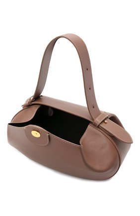 Женская сумка loaf YUZEFI бежевого цвета, арт. YUZPF21-HB-L0-14 | Фото 4 (Сумки-технические: Сумки top-handle; Размер: medium; Материал: Натуральная кожа; Ремень/цепочка: На ремешке)