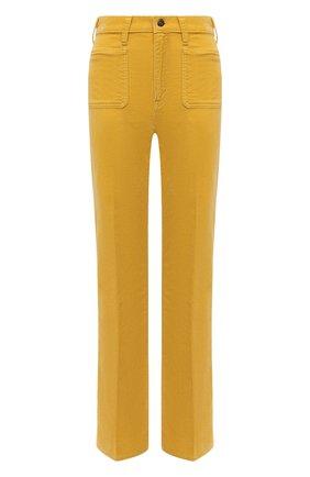 Женские хлопковые брюки POLO RALPH LAUREN желтого цвета, арт. 211843365 | Фото 1