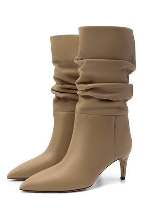 Женские кожаные ботильоны slouchy PARIS TEXAS бежевого цвета, арт. PX511-XVT01   Фото 1 (Каблук высота: Средний; Подошва: Плоская; Материал внутренний: Натуральная кожа; Каблук тип: Шпилька)