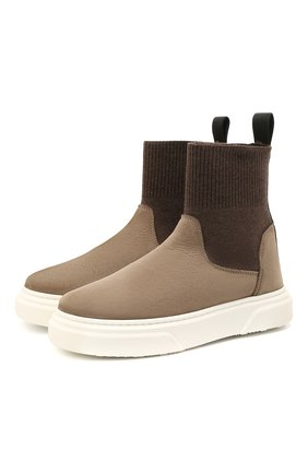Детские кожаные ботинки MONTELPARE TRADITION коричневого цвета, арт. MT18301/M0RBID0NE/T0MAIA/M0NT0NE/36-41 | Фото 1