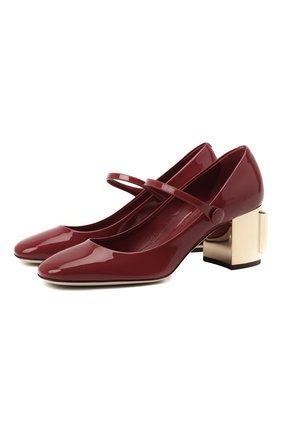 Женские кожаные туфли alexa DOLCE & GABBANA красного цвета, арт. CD1627/AQ130 | Фото 1 (Материал внутренний: Натуральная кожа; Каблук высота: Средний; Подошва: Плоская; Каблук тип: Устойчивый)
