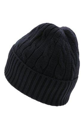Женская хлопковая шапка POLO RALPH LAUREN синего цвета, арт. 455849474 | Фото 2