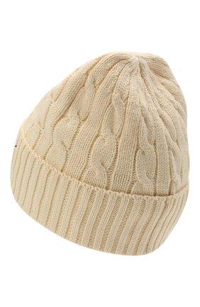 Женская хлопковая шапка POLO RALPH LAUREN кремвого цвета, арт. 455849474 | Фото 2