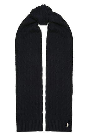 Женский хлопковый шарф POLO RALPH LAUREN синего цвета, арт. 455849473 | Фото 1