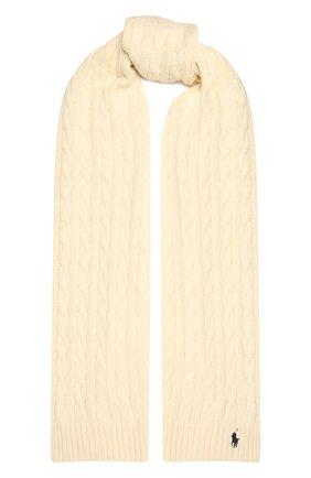 Женский хлопковый шарф POLO RALPH LAUREN кремвого цвета, арт. 455849473 | Фото 1