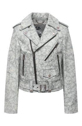 Женская кожаная куртка GOLDEN GOOSE DELUXE BRAND серого цвета, арт. GWP00848.P000556 | Фото 1