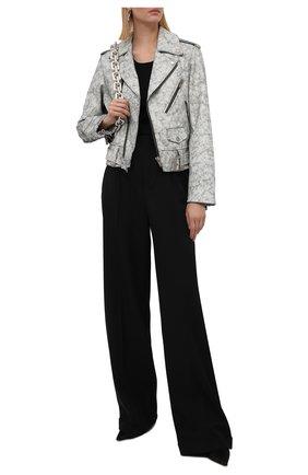 Женская кожаная куртка GOLDEN GOOSE DELUXE BRAND серого цвета, арт. GWP00848.P000556 | Фото 2