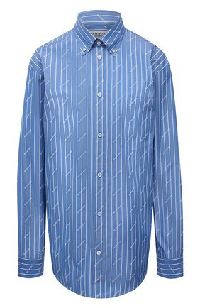 Женская хлопковая рубашка BALENCIAGA голубого цвета, арт. 658956/TGLB9 | Фото 1 (Материал внешний: Хлопок; Рукава: Длинные; Длина (для топов): Удлиненные; Стили: Гламурный; Принт: С принтом; Женское Кросс-КТ: Рубашка-одежда)
