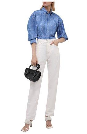 Женская хлопковая рубашка BALENCIAGA голубого цвета, арт. 658956/TGLB9 | Фото 2 (Материал внешний: Хлопок; Рукава: Длинные; Длина (для топов): Удлиненные; Стили: Гламурный; Принт: С принтом; Женское Кросс-КТ: Рубашка-одежда)
