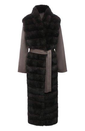 Женское кашемировое пальто с мехом соболя MANZONI24 коричневого цвета, арт. 21M397-ZWS1/38-46   Фото 1