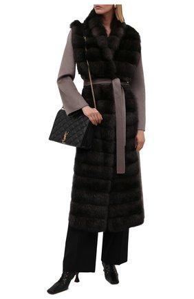Женское кашемировое пальто с мехом соболя MANZONI24 коричневого цвета, арт. 21M397-ZWS1/38-46   Фото 2