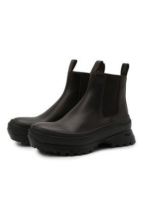 Женские комбинированные ботинки JIL SANDER темно-коричневого цвета, арт. JP33010A-14511 | Фото 1 (Каблук высота: Средний; Материал внутренний: Натуральная кожа; Подошва: Платформа; Женское Кросс-КТ: Челси-ботинки)