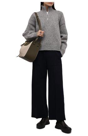 Женские комбинированные ботинки JIL SANDER темно-коричневого цвета, арт. JP33010A-14511 | Фото 2 (Каблук высота: Средний; Материал внутренний: Натуральная кожа; Подошва: Платформа; Женское Кросс-КТ: Челси-ботинки)