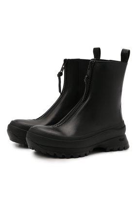 Женские комбинированные ботинки JIL SANDER черного цвета, арт. JP37002A-14510 | Фото 1 (Подошва: Платформа; Материал внутренний: Натуральная кожа; Каблук высота: Средний; Женское Кросс-КТ: Без шнуровки-ботинки)