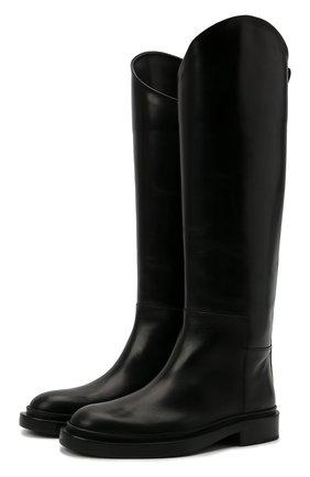 Женские кожаные сапоги JIL SANDER черного цвета, арт. JS35043A-14030   Фото 1 (Материал внутренний: Натуральная кожа; Высота голенища: Высокие; Каблук высота: Низкий; Подошва: Платформа; Каблук тип: Устойчивый)
