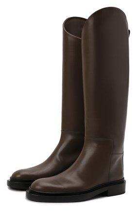 Женские кожаные сапоги JIL SANDER темно-коричневого цвета, арт. JS35043A-14031 | Фото 1 (Каблук высота: Низкий; Подошва: Платформа; Материал внутренний: Натуральная кожа; Высота голенища: Высокие; Каблук тип: Устойчивый)