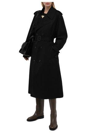 Женские кожаные сапоги JIL SANDER темно-коричневого цвета, арт. JS35043A-14031 | Фото 2 (Каблук высота: Низкий; Подошва: Платформа; Материал внутренний: Натуральная кожа; Высота голенища: Высокие; Каблук тип: Устойчивый)
