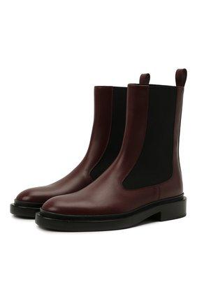 Женские комбинированные ботинки JIL SANDER темно-бордового цвета, арт. JS36050B-14032 | Фото 1 (Каблук высота: Низкий; Подошва: Платформа; Материал внутренний: Натуральная кожа; Женское Кросс-КТ: Челси-ботинки)
