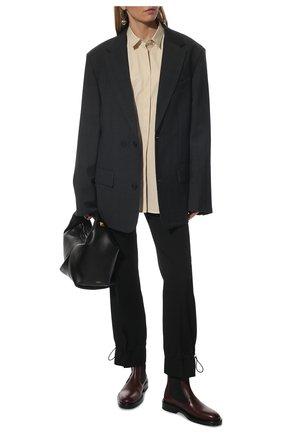 Женские комбинированные ботинки JIL SANDER темно-бордового цвета, арт. JS36050B-14032 | Фото 2 (Каблук высота: Низкий; Подошва: Платформа; Материал внутренний: Натуральная кожа; Женское Кросс-КТ: Челси-ботинки)