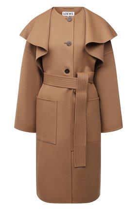 Женское пальто из шерсти и кашемира LOEWE бежевого цвета, арт. S359336XCL | Фото 1 (Длина (верхняя одежда): Длинные; Рукава: Длинные; Материал внешний: Шерсть; Стили: Гламурный; 1-2-бортные: Однобортные)