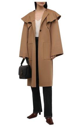 Женское пальто из шерсти и кашемира LOEWE бежевого цвета, арт. S359336XCL | Фото 2 (Длина (верхняя одежда): Длинные; Рукава: Длинные; Материал внешний: Шерсть; Стили: Гламурный; 1-2-бортные: Однобортные)