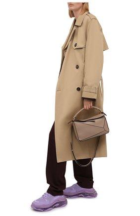 Женские текстильные кроссовки triple s BALENCIAGA сиреневого цвета, арт. 544351/W2GA1 | Фото 2