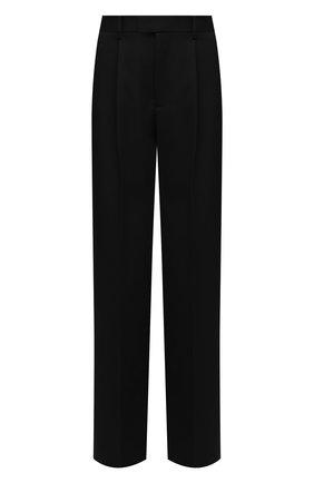 Женские шерстяные брюки BOTTEGA VENETA черного цвета, арт. 668760/VKIS0   Фото 1 (Длина (брюки, джинсы): Удлиненные; Материал внешний: Шерсть; Стили: Гламурный; Женское Кросс-КТ: Брюки-одежда; Силуэт Ж (брюки и джинсы): Широкие)