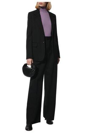 Женские шерстяные брюки BOTTEGA VENETA черного цвета, арт. 668760/VKIS0   Фото 2 (Длина (брюки, джинсы): Удлиненные; Материал внешний: Шерсть; Стили: Гламурный; Женское Кросс-КТ: Брюки-одежда; Силуэт Ж (брюки и джинсы): Широкие)