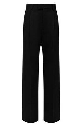 Женские шерстяные брюки BOTTEGA VENETA черного цвета, арт. 668760/V0B20 | Фото 1 (Материал внешний: Шерсть; Длина (брюки, джинсы): Удлиненные; Стили: Гламурный; Женское Кросс-КТ: Брюки-одежда; Силуэт Ж (брюки и джинсы): Широкие)
