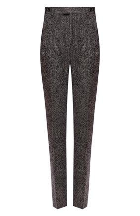 Женские брюки из шерсти и шелка BOTTEGA VENETA бежевого цвета, арт. 664620/V12N0 | Фото 1 (Материал внешний: Шерсть; Стили: Гламурный; Женское Кросс-КТ: Брюки-одежда; Силуэт Ж (брюки и джинсы): Прямые; Длина (брюки, джинсы): Стандартные)