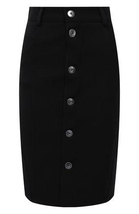Женская шерстяная юбка BOTTEGA VENETA черного цвета, арт. 659391/V0IV0 | Фото 1 (Материал внешний: Шерсть; Длина Ж (юбки, платья, шорты): До колена; Стили: Гламурный; Женское Кросс-КТ: Юбка-одежда)