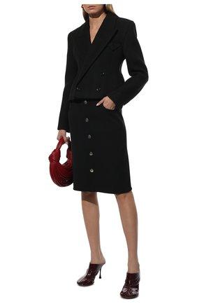 Женская шерстяная юбка BOTTEGA VENETA черного цвета, арт. 659391/V0IV0 | Фото 2 (Материал внешний: Шерсть; Длина Ж (юбки, платья, шорты): До колена; Стили: Гламурный; Женское Кросс-КТ: Юбка-одежда)